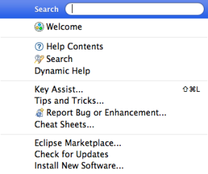 Eclipse Help Menu