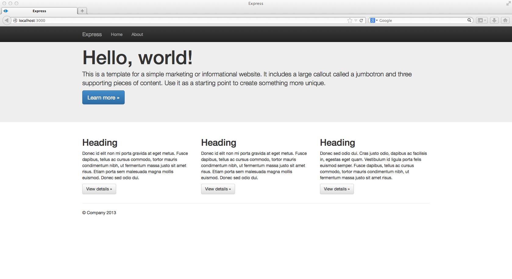 How to develop a responsive Node js Express website using