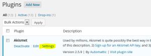 Installed plugin Akismet